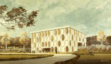 Architect's rendering of the Modern Language Building, 1966