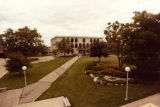 Lalumiere Hall as seen in the distance across the pedestrian mall