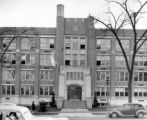 North facade and main entrance to Haggerty Hall, circa 1942