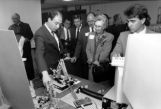 Beatrice Haggerty watches as faculty demonstrate engineering lab capabilities, 1988