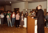 John P. Raynor, S.J., speaks at the dedication of the Haggerty Museum of Art, 1984
