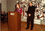 Beatrice Haggerty speaks at the dedication of the Haggerty Museum of Art, 1984