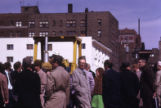 Attendees gather for the groundbreaking ceremony for the Helfaer Recreation Center, 1974