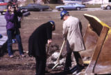 John P. Raynor, S.J., and Gerald Rauenhorst break ground for the Helfaer Recreation Center, 1974