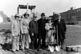 Dignitaries for the groundbreaking ceremony for the Helfaer Tennis Stadium and Recreation Center,...