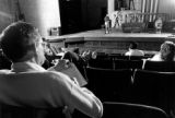 Actors rehearse a play on the stage in the Helfaer Theatre, 1989