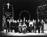 The cast gathers on stage in a student production of Happy End, 1989