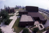 View of the Helfaer Theatre as seen from the roof of Lalumiere Hall looking east, 1979