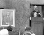 Colet Coughlin speaks at the dedication of Coughlin Hall, 1977