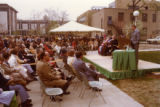 A crowd gathers for Coughlin Hall dedication ceremonies, 1977