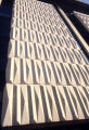 Detail view of a precast concrete panel used on the exterior facade of the Wehr Chemistry Building