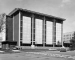 East facade of the Wehr Chemistry Building during the final phases of construction, circa 1967