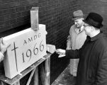 Cornerstone laying for the Wehr Chemistry Building, 1966