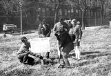 Physics students hold their own groundbreaking for the Wehr Physics Building, 1972