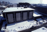 Bird's eye view of the west facade of the Wehr Physics Building, 1985