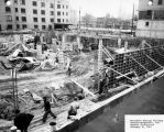 Contractors work on the foundation for the Wehr Life Sciences Building, 1961