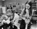 Ellen Rasch looks at a specimen with a microscope while a student watches, 1975