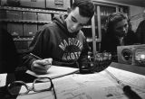 Biology students record information in their laboratory notebooks, 1985