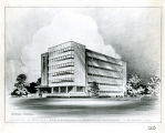 Architectural drawing showing the south and west facades of the College of Business Administration...