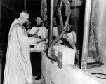 Archbishop Moses Kiley blesses the cornerstone of the Business Administration Building, 1950