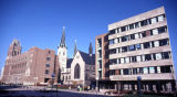 View of the pedestrian mall on 13th Street, with Marquette Hall to the left, Gesu Church in the...