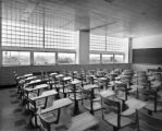 An empty classroom awaits students in the newly constructed Business Administration Building,...