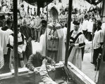 Milwaukee Archbishop Moses Kiley presides at the cornerstone laying for the College of Business...