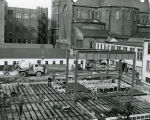 Work progresses at the College of Business Administration Building construction site, circa 1951