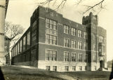 View of the newly constructed Dental School, as seen from the northwest corner of the building,...
