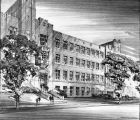 Architect's rendering of the proposed Dental School addition, 1956