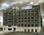 View of the west façade of the Eben J. and Helene M. Carey Memorial Library addition to the...