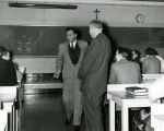 Entertainer Danny Thomas visits a Medical School class, 1957