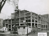 A construction crew works at the site of the Medical School addition, 1952
