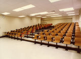 A renovated classroom stands at the ready in the Schroeder Complex