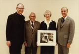 Representatives of the Schroeder Foundation pose with Marquette officials, circa 1981