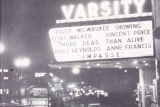 Varsity Theatre sign advertising movies, 1969