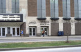 Detail view of the entrances to the Varsity Theatre, Holthusen Hall, and the University Book...