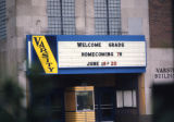 Detail view of the Varsity Theatre marquee, 1976