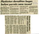 Plankinton demolition began before permits were issued, 1980
