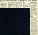 Preservationists seek injuction to save Knight, 1978