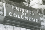 The Knights of Columbus sign on the Elizabeth Plankinton Mansion, 1978