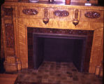 Detail view of one of the many fireplaces in the John Plankinton Mansion, circa 1973