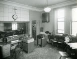 A room in the John Plankinton Mansion, converted to a classroom and broadcast booth, circa 1953