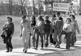Nursing students march to the site of their new building (Emory Clark Hall), 1981