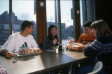 Students eat in the Mashuda Hall cafeteria, 1999