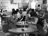 Students gather in the cafeteria of Straz Tower, 1978