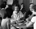Students socialize in the cafeteria of David A. Straz, Jr. Tower, 1978