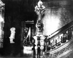 Interior shot of the stairway in the front hall of the John Plankinton Mansion