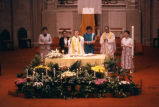 Ronald Bieganowski, S.J. celebrates the Eucharist during Mass at Gesu's Upper Church, circa 1984