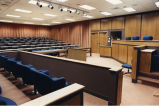 Empty courtroom in Sensenbrenner Hall